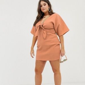 kimono sleeve twist front mini dress in texture